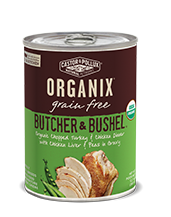 ORGANIX<sup>®</sup> Grain Free Butcher & Bushel Grain Free Organic Chopped Turkey & Chicken Dinner with Chicken Liver & Peas in Gravy Recipe