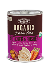 ORGANIX<sup>®</sup> Grain Free Butcher & Bushel Organic Carved Turkey Dinner with Carrots & Sweet Potatoes in Gravy Recipe