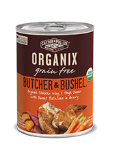 ORGANIX<sup>®</sup> Grain Free Butcher & Bushel Grain Free Organic Chicken Wing & Thigh Dinner with Sweet Potatoes in Gravy